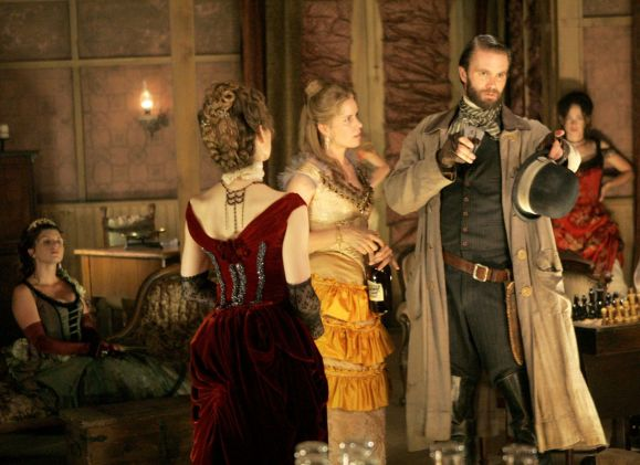Alice Krige, Kim Dickens and Garret Dillahunt in Deadwood