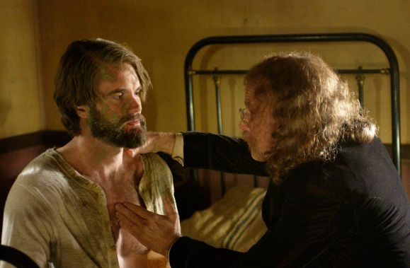 Garret Dillahunt and Brad Dourif in Deadwood