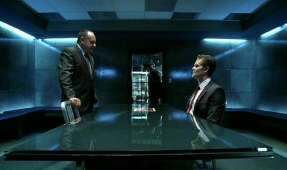 "Paul Guilfoyle and Garret Dillahunt in CSI 10x01, ""Family Affair"""